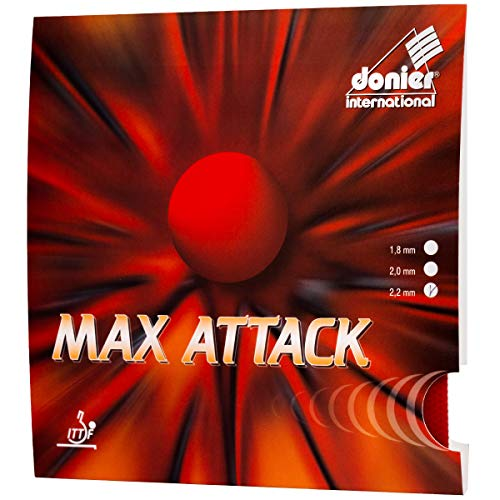 Donier Goma de Ping Pong | MAX Attack | Goma de Tenis de Mesa Fabricada en Europa para Palas y Maderas de Tenis de Mesa | Rendimiento de Competición | Personaliza tu Pala Raqueta (Negro, 2,2 mm)