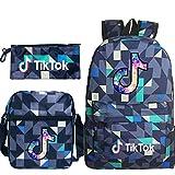 Travel TIK Tok Girls School Casual Daypacks Set Mochila Escolar para Estudiantes + Bolso pequeño + Bolso para bolígrafo Conjunto de Tres Piezas V-5