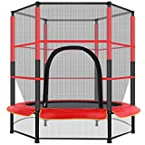 Boddenly 55In Toddler Recreational Trampolines, Mini Kids Trampoline with Enclosure Net Jumping Mat and Spring Cover Padding, Best Birthday Gift for Kids