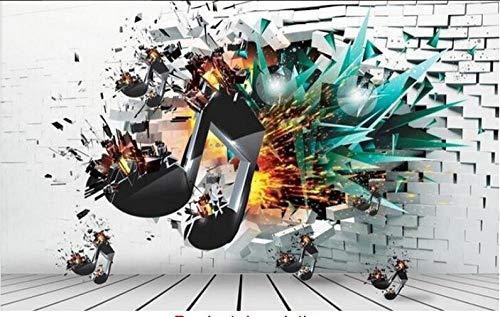 Vlies Wandbild - XXL Tapeten - Wanddekoration Aufkleber-Wand-Fresko-Musik-Explosions-Symbol-Hintergrund-dekorative Malereien 3D Fototapete