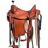 HILASON 16' Western Horse Cowboy Trail Wade Roping Saddle Light Oil