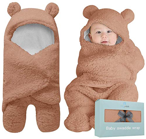 Baby Swaddle Blanket | Ultra-Soft Plush Essential for Infants 0-6 Months | Receiving Swaddling Wrap Brown | Ideal for Baby Boy Accessories and Newborn Registry | Perfect Baby Girl Shower Gift