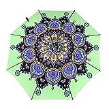 Mandala en color paraguas automático de tres pliegues proteger protector solar resistente al viento impreso paraguas ligero para niña senderismo exterior impresión, Impresión interior., Taille unique