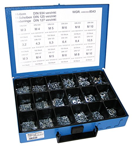 Dresselhaus Sortimente Muttern DIN 934/U-Scheiben DIN 125/Federringe DIN 127 galvanisch verzinkt, 1 Stück, 0/4499/000/8543/06