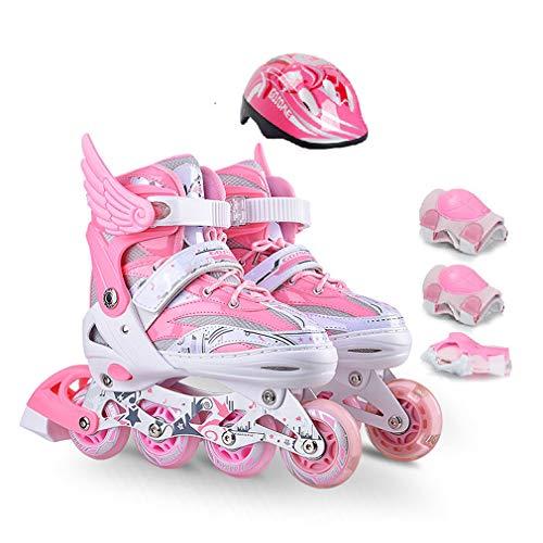 WANGLXST Fashion Verstelbare Inline Skates Beginner Skates, Ademende Comfortabele Verdikte voering Antislip Wear-Resistant Mute Rubber Wiel Holle kinder