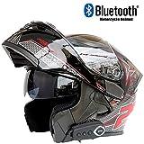 WWtoukui Carbon Black Motorcycle Bluetooth Helm, Dual Lens Locomotive Off-Road Vehicle ATV Racing Full Helmet, Built-In Headset Mikrofon, DOT-Zertifizierung,M57~58cm
