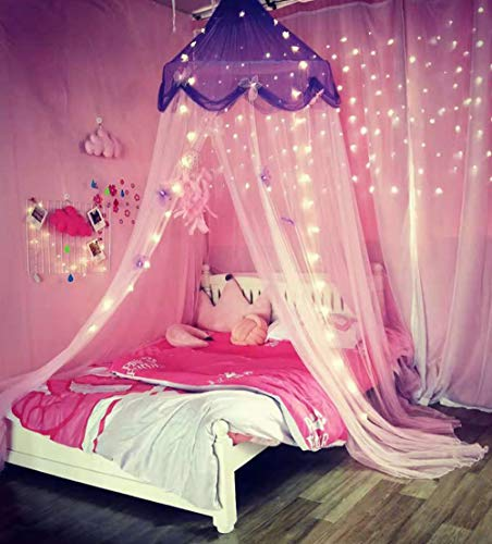 Nattey Comfort Blue Star Lace Mosquito Net Bed Canopy Curtain for Girls Toddler Bed Canopy for Girls Bed (Purple and Pink), Fire Retardant Fabric