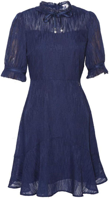 UOYJN Woman Dress Spring And Summer Lace Pearl High Waist Ruffle Dress