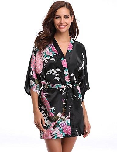 Aibrou Women's Kimono Robe Satin Peacock Bathrobe Short Silk Bridal Robe Black