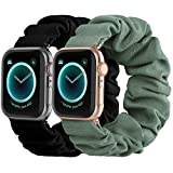 Compatible with Scrunchies Apple Watch Bands 42mm 44mm, Women Cloth Pattern Printed Fabric Wristbands Straps Elastic Scrunchy Band for iWatch Series 6 5 4 3 2 1 SE (Small Black, Green)
