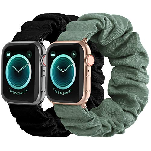 Compatible with Scrunchies Apple Watch Bands 38mm 40mm, Women Cloth Pattern Printed Fabric Wristbands Straps Elastic Scrunchy Band for iWatch Series 6 5 4 3 2 1 SE (Large Black, Green)