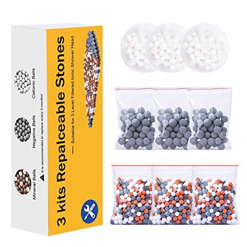 Magichome 9 paquetes de bolas minerales de iones negativos de repuesto, ablandan el agua dura, eliminan el cloro, las bacterias y otras impurezas