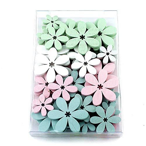 48 x de fleurs de litière en bois plat, blanc/rose/menthe/H. de bleu, 5,5/4/3 cm, boîte * * *