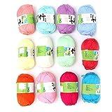 Okuyonic Hilo de algodón Línea de carbón de bambú Popular Proyectos de Hilado Tejido para Manualidades de Bufandas de suéter(A Set of 12 Colors)
