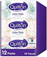 Quilton 3 Ply Extra Thick Facial Tissues (Hypo-allergenic, 110 Sheets per Box, 12 Box per case), 1320 Count
