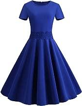 TOTOD Vintage Dress, Elegant Women 1950s Retro Short Sleeve O-Neck Solid Party Prom Swing Dress
