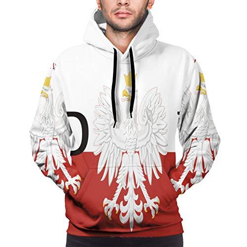 Carwayii Polish Flag Poland Polska Men Hoodie Long Sleeve Sweatshirt Boys Jacket With Pockets Black