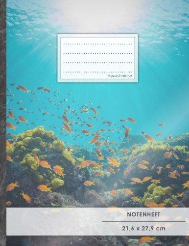 """Notenheft: DIN A4 • 48 Seiten, 24 Blatt, 12 Systeme, """"Underwater"""" • Original #GoodMemos Schulheft • Mit Inhaltsverzeichnis und Seitenzahlen, Noten-Lineatur 14"""