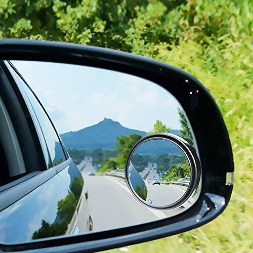 Toter Winkel-Spiegel, 360 Grad verstellbar, 5,1 cm HD-Glas, konvexer Weitwinkelspiegel, für alle universellen Fahrzeuge, Auto, Aufkleber-Design, 2 Stück