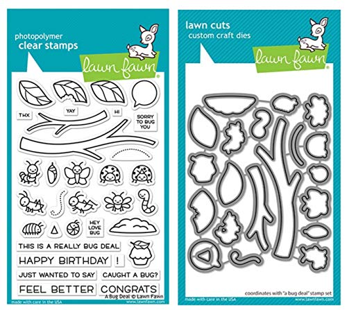 """Lawn Fawn A Bug Deal 4""""x6"""" Clear Stamp Set and Coordinating Custom Craft Die Set (LF2221 LF2222), Bundle of 2 Items"""