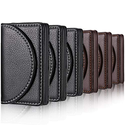 6 Pieces Business Card Holder PU Leather Credit Name Card Holder for Men or Women, Name Card Case Holder with Magnetic Shut, Black and Coffee Color, Holds 25 Business Cards