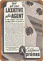 ヴィンテージ壁サイン、下剤用1935カリフォルニアプルーン、錫壁サイン面白い鉄絵ヴィンテージ金属プラークレトロアートクラフト吊りアートワークポスターバーコーヒーハウスストアホームヤード