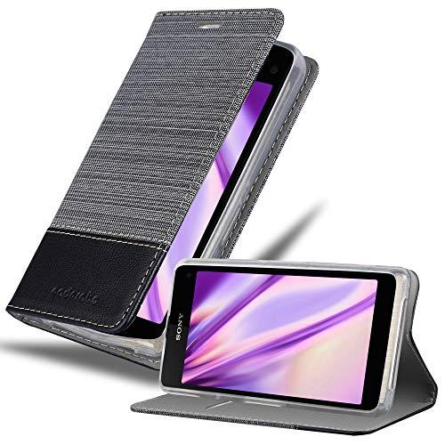 Cadorabo Hülle für Sony Xperia Z1 COMPACT in GRAU SCHWARZ - Handyhülle mit Magnetverschluss, Standfunktion & Kartenfach - Hülle Cover Schutzhülle Etui Tasche Book Klapp Style