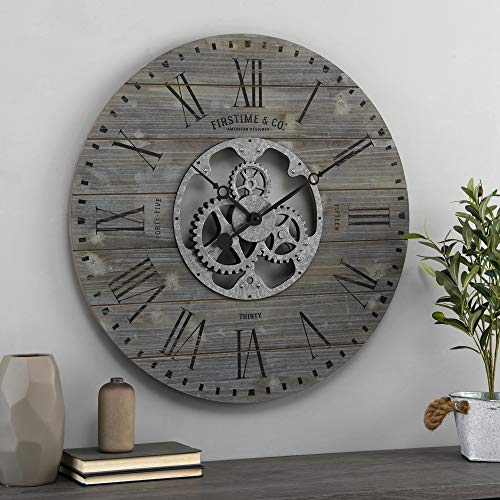 FirsTime & Co. Gray Shiplap Gears Farmhouse Wall Clock, American Designed, Gray, 27 x 2 x 27 inches