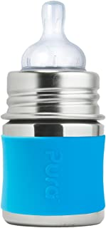 Pura Kiki 5oz / 150ml Stainless Steel Infant Bottle with Silicone Natural Vent Nipple & Sleeve, Aqua (Plastic Free, NonToxic Certified, BPA Free)