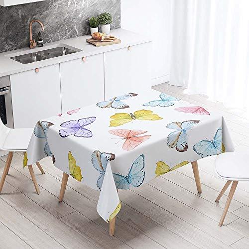 Enhome Manteles de Poliéster Rectangular Mantel Rectangular Impermeable Antimanchas Nórdico Moderno Mantel Decorativo para mesas rectangulares Cocina Comedor (Color de Primavera,140x200cm)