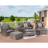 Outdoor Patio Furniture 8-Piece Patio Conversation Furniture Set, Coffee Rattan Wicker Chairs Sectional Patio Sofa w/Glass Table, All-Weather Outdoor Furniture Set w/Removable Washable Grey Cushions