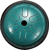 PIAOLIGN Tambor de Lengua de Acero, Tambor de la lengüeta de Acero de 5.5 Pulgadas 5 Nota Disco portátil Perchourine Percussion Instrumento con mazos y Soporte Bolsa de Viaje, Verde