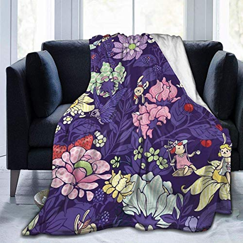 "Clothing decoration Fleece Blanket 50"" x 60""- The Garden Party Blueberry Tea Version Home Flannel Fleece Soft Warm Plush Throw Blanket for Bed/Couch/Sofa/Office/Camping"