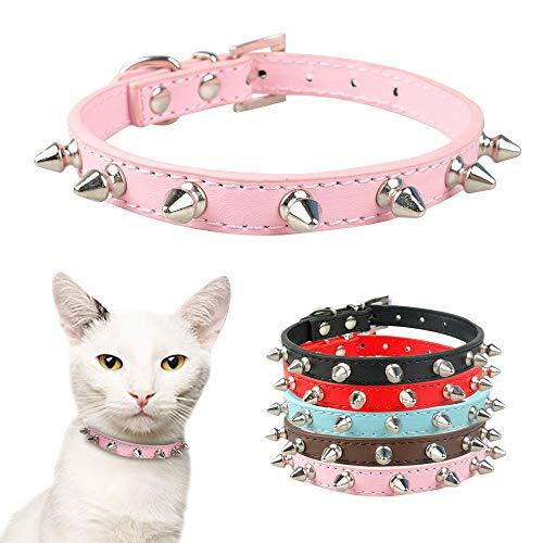 5 Stück Coole Katze Hundehalsband Katzen Hunde Leder Stachel Nieten Halsbänder für kleine mittlere Hunde Katzen Chihuahua 5 Farben, M