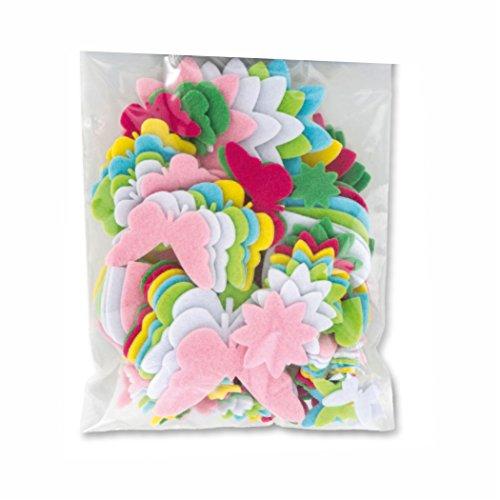 Filzstanzteile, selbstklebend FRÜHJAHR 112 Teile, farbig sortierter Filz