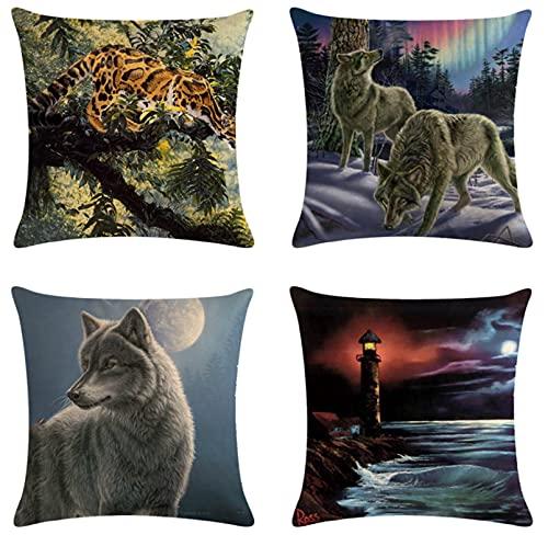 JOVEGSRVA Juego de 4 fundas de cojín decorativas de lino cuadrado para casa, oficina, sofá, coche, jardín, 45 x 45 cm, color gris