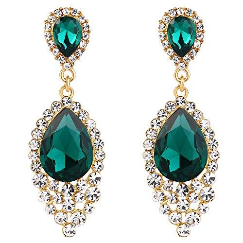 BriLove Wedding Bridal Dangle Earrings for Women Crystal Teardrop Cluster Beads Chandelier Earrings Emerald Color Gold-Toned