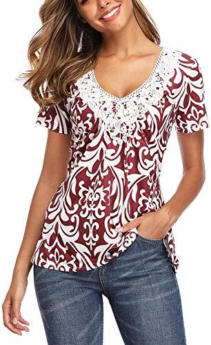 Oiuytghjkl Damen Kurzarm Tunika T-Shirts mit V-Ausschnitt Spitze T-Shirt, Schnaps, 10
