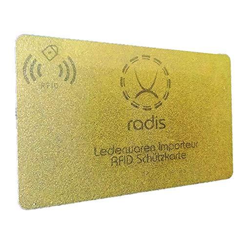 RFID Blocker Karte NFC Schutzkarte Blocking Card für Kreditkarten, Geldbörse, Personalausweis, Kreditkartenetui, EC (Gold Premium 13,56 MHz, 1)