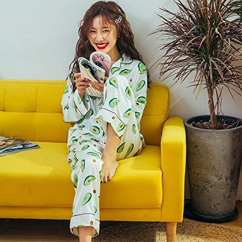 JFCDB Nachthemd High-end avocado pyjama set Dames ijs zijde satijn pyjama nachtkleding met lange mouwen Pijama pyjama pak Dames slaapset loungewear, wit, m