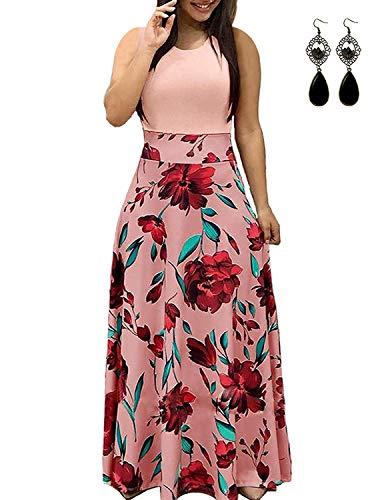 UUAISSO Sommerkleid Damen Lang mit Blüte Drucken Lang High Waist Elastische Strandkleider Maxikleider P-rosa-Ohne Arm XL