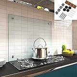 Melko Spritzschutz Herdblende aus Glas, für Küche, Herd, Fliesen, 6 mm ESG Sicherheitsglas,...