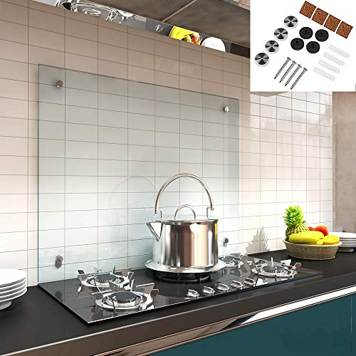 Melko Spritzschutz Herdblende aus Glas, für Küche, Herd, Fliesen, 6 mm ESG Sicherheitsglas, Küchenrückwand, inkl. Schrauben, 90 x 40 cm, Klarglas