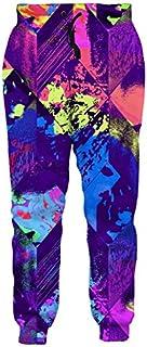 Leapparel Unisex Geometric Pants Elastic Drawstring Hip Hop Rock Sweatpants Trousers Colorful Ink XL