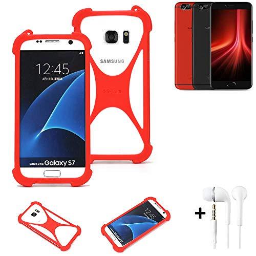 K-S-Trade® Handyhülle + Kopfhörer Für UMIDIGI Z1 Pro Schutzhülle Bumper Silikon Schutz Hülle Cover Case Silikoncase Silikonbumper TPU Softcase Smartphone, Rot (1x),