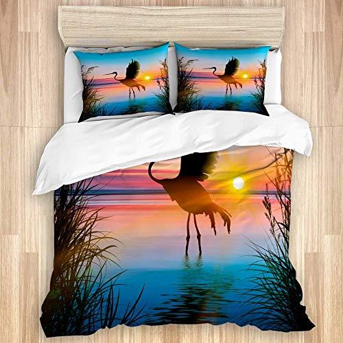 Juego de funda nórdica de 3 piezas, coloridos pájaros artísticos de vida silvestre, puesta de sol, paisaje de lago azul, juegos de fundas de edredón de microfibra de lujo para dormitorio, colcha con c