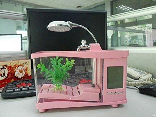 Mini tanque de peces acuario USB con pantalla LCD multifuncional calendario y...