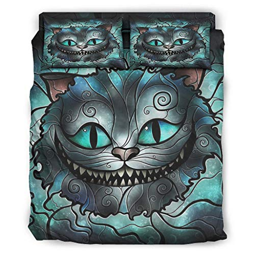 Cheshire Cat Bedding Bedspread Cover Set Customize 4 Piece Quilt Set Bedspread with Pillow Sham and Bed Sheet White Queen