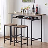 IBF Modern Bar Table Set, Wood and Metal Dining Table Set, Industrial Breakfast Pub Table, Counter...