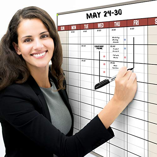 Dunwell 18x27 Dry Erase Calendar - (Earthtone) Undated Large Dry Erase Calendar for Wall, Reversible Reusable Monthly and Weekly Dry Erase Calendar, Wipe Off Calendar Poster Shipped Rolled Not Folded